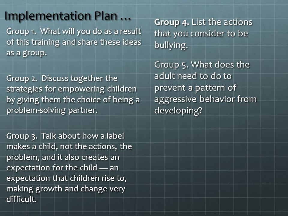 Implementation Plan … Group 4.List the actions that you consider to be bullying.