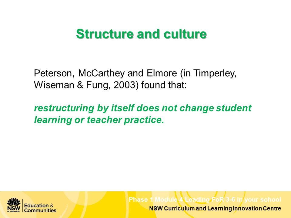 Phase 1 Module 4 Leading FoR 3-6 in your school NSW Curriculum and Learning Innovation Centre Structure and culture Peterson, McCarthey and Elmore (in Timperley, Wiseman & Fung, 2003) found that: restructuring by itself does not change student learning or teacher practice.