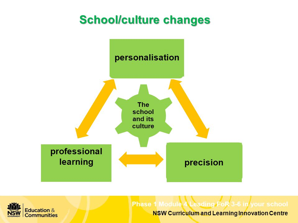 Phase 1 Module 4 Leading FoR 3-6 in your school NSW Curriculum and Learning Innovation Centre School/culture changes learningteaching teaching & learning The school and its culture personalisation precision professional learning