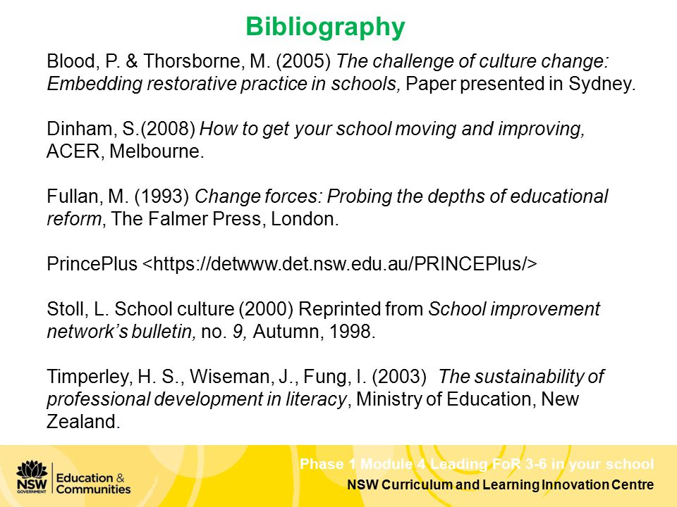 Phase 1 Module 4 Leading FoR 3-6 in your school NSW Curriculum and Learning Innovation Centre Bibliography Blood, P. & Thorsborne, M. (2005) The chall