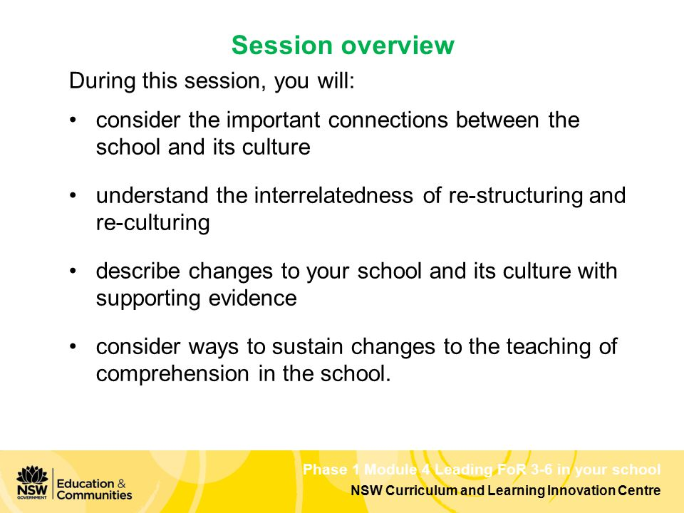 Phase 1 Module 4 Leading FoR 3-6 in your school NSW Curriculum and Learning Innovation Centre During this session, you will: consider the important co