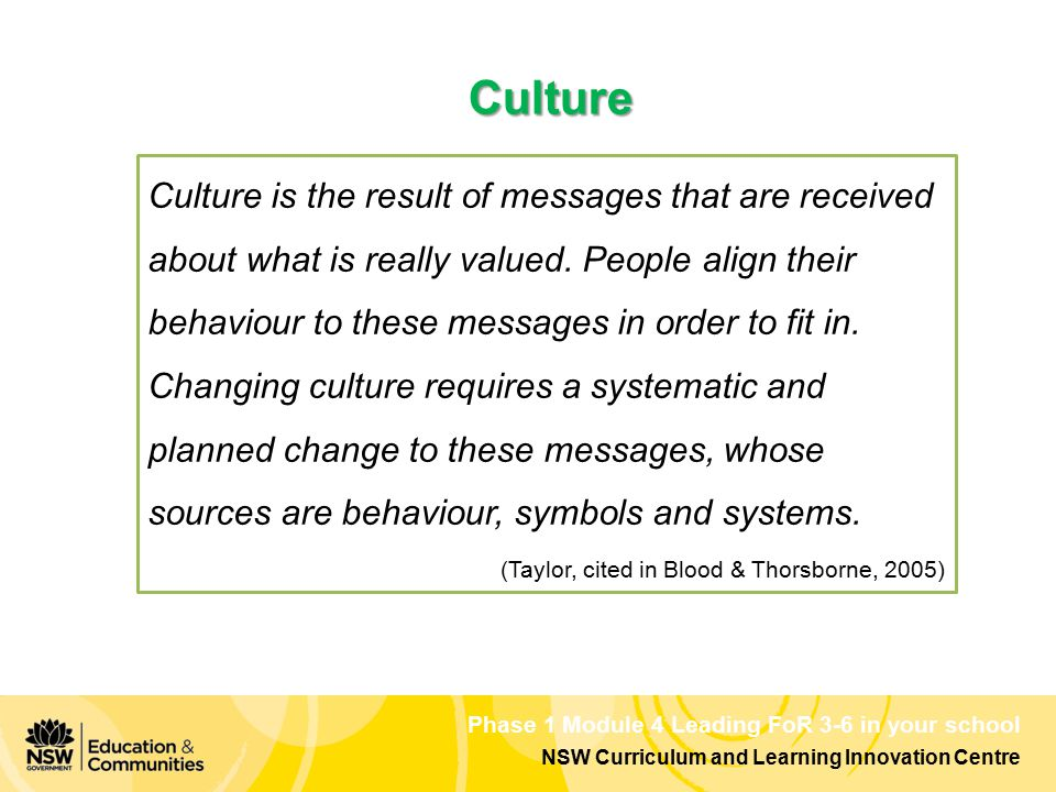 Phase 1 Module 4 Leading FoR 3-6 in your school NSW Curriculum and Learning Innovation Centre Culture is the result of messages that are received abou