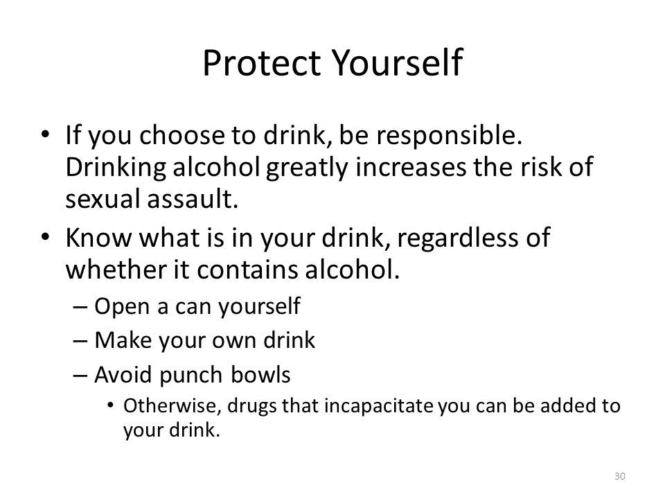 Protect Yourself If you choose to drink, be responsible.