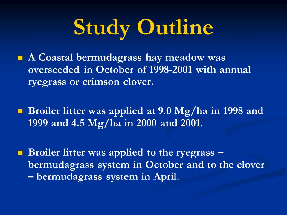 Study Outline A Coastal bermudagrass hay meadow was overseeded in October of 1998-2001 with annual ryegrass or crimson clover.