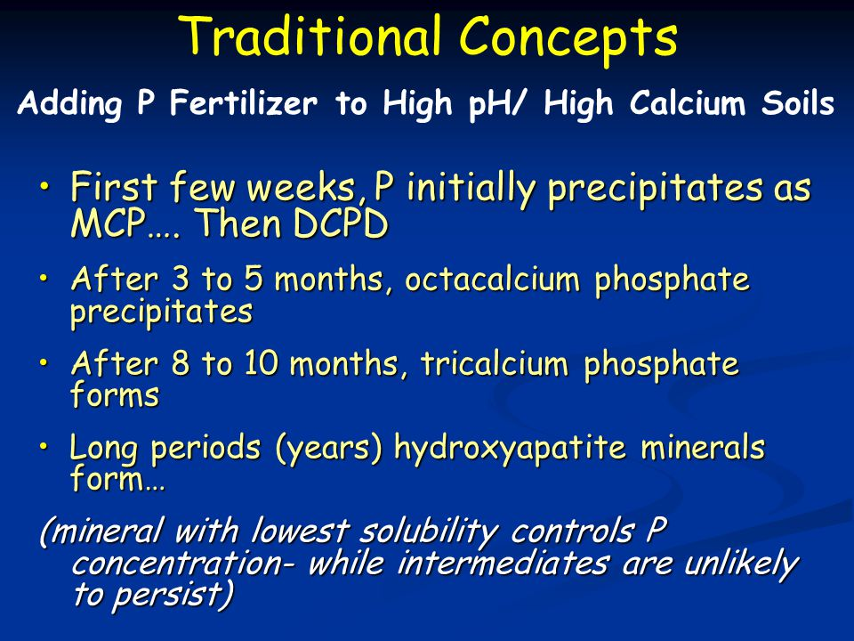 First few weeks, P initially precipitates as MCP…. Then DCPDFirst few weeks, P initially precipitates as MCP…. Then DCPD After 3 to 5 months, octacalc