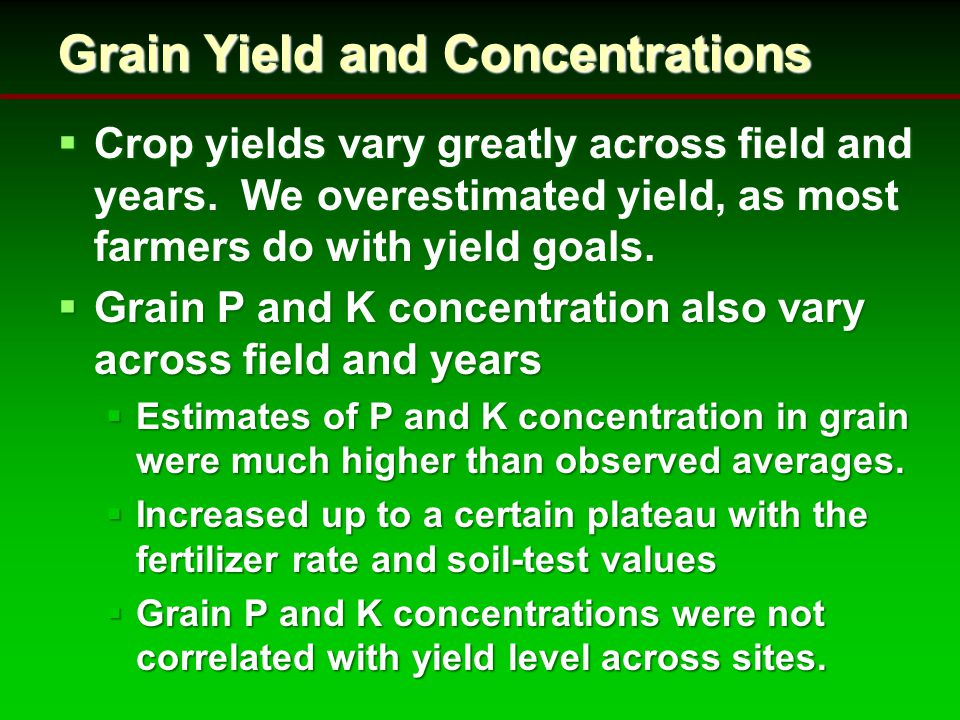 Grain Yield and Concentrations  Crop yields vary greatly across field and years.