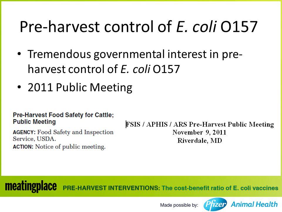 Pre-harvest control of E.coli O157 Tremendous governmental interest in pre- harvest control of E.