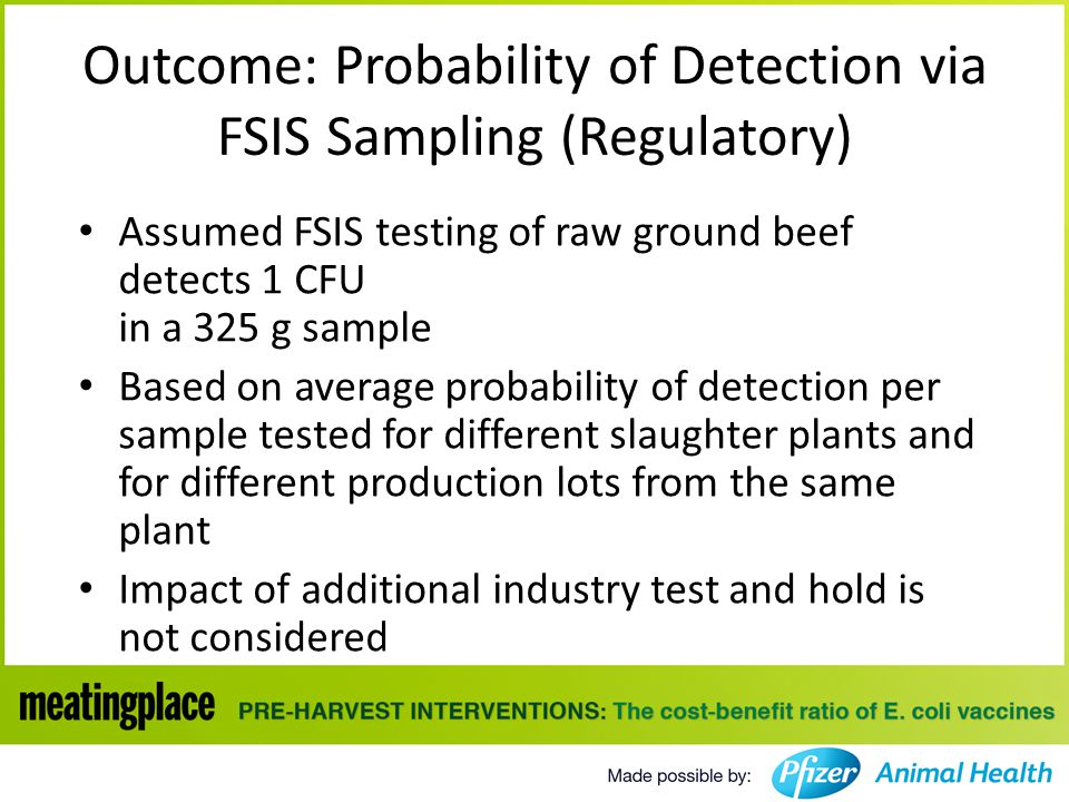 Outcome: Probability of Detection via FSIS Sampling (Regulatory) Assumed FSIS testing of raw ground beef detects 1 CFU in a 325 g sample Based on average probability of detection per sample tested for different slaughter plants and for different production lots from the same plant Impact of additional industry test and hold is not considered