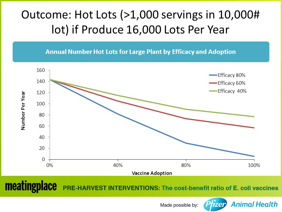 Outcome: Hot Lots (>1,000 servings in 10,000# lot) if Produce 16,000 Lots Per Year Annual Number Hot Lots for Large Plant by Efficacy and Adoption