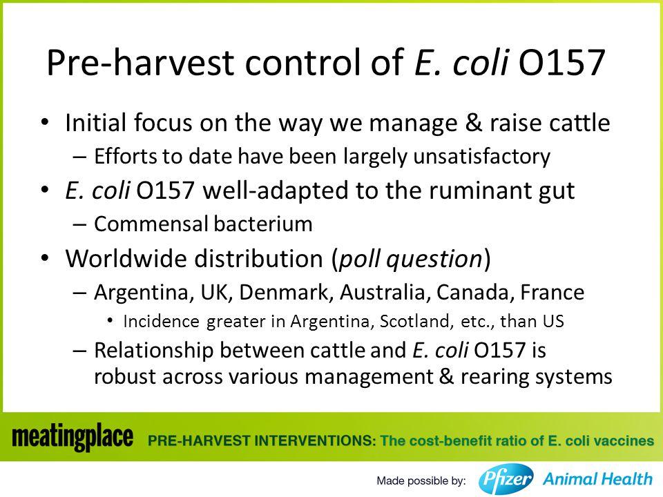 Pre-harvest control of E.