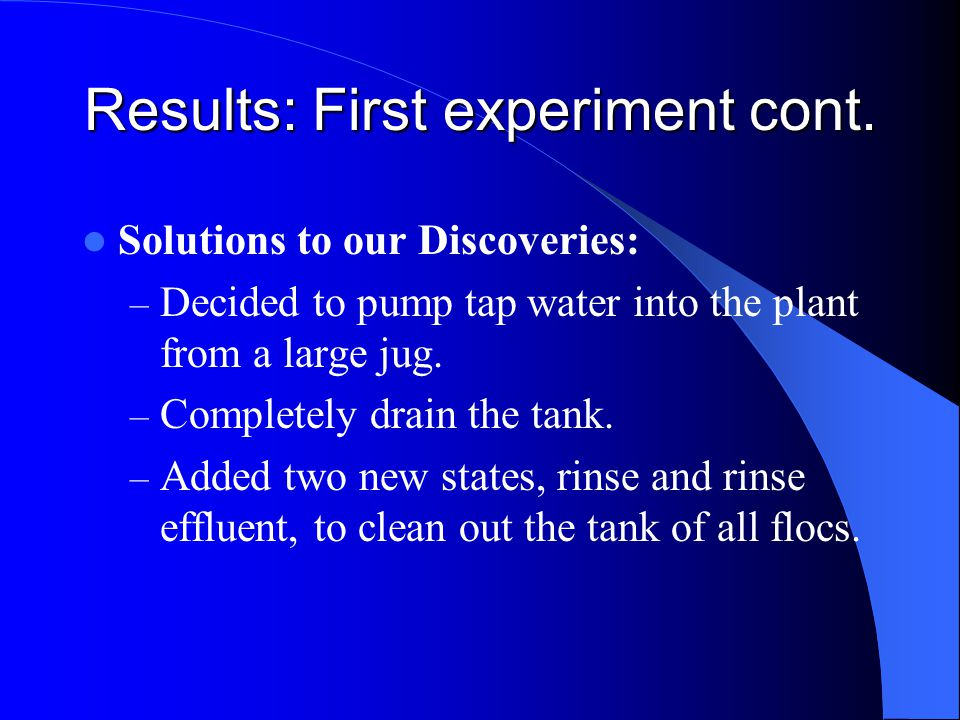 Solutions to our Discoveries: – Decided to pump tap water into the plant from a large jug.