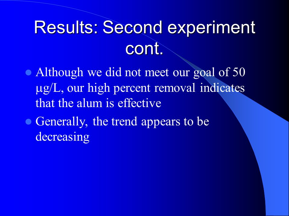 Although we did not meet our goal of 50  g/L, our high percent removal indicates that the alum is effective Generally, the trend appears to be decreasing