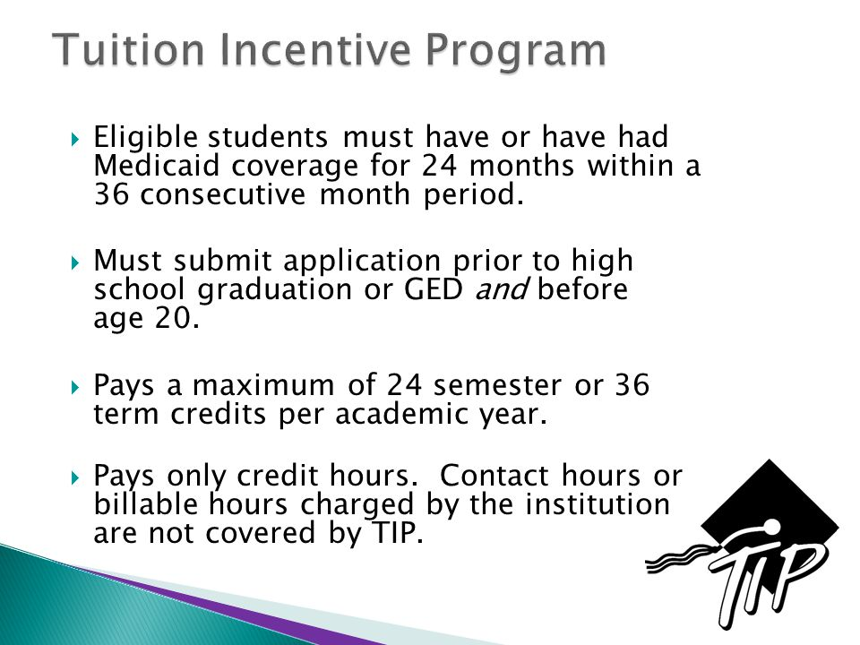  Eligible students must have or have had Medicaid coverage for 24 months within a 36 consecutive month period.  Must submit application prior to hig