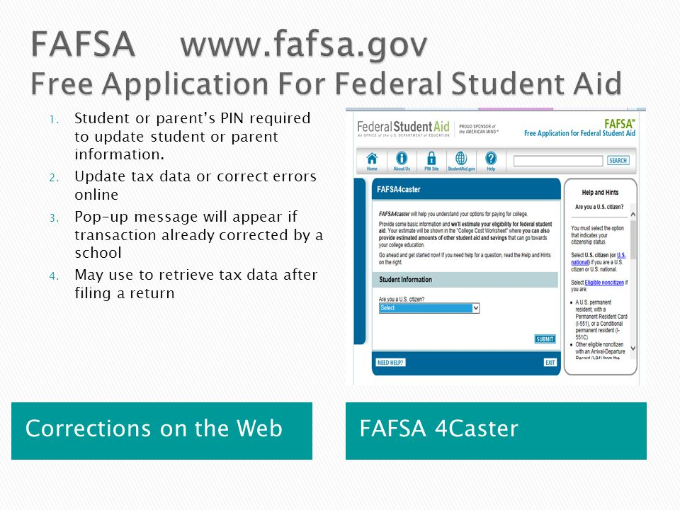 Corrections on the Web FAFSA 4Caster 1.