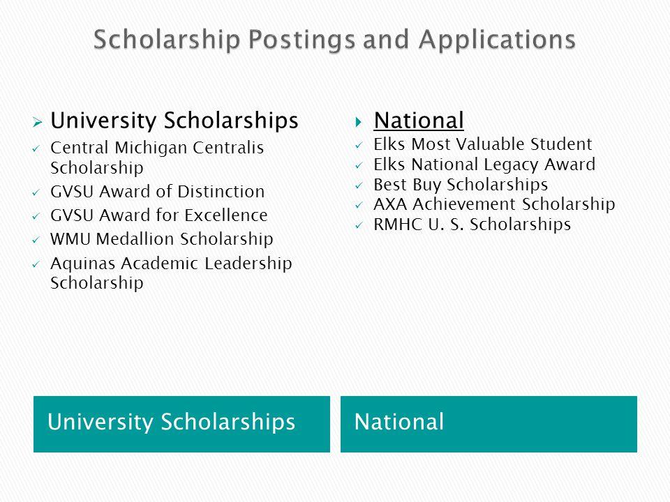 University Scholarships National  University Scholarships Central Michigan Centralis Scholarship GVSU Award of Distinction GVSU Award for Excellence