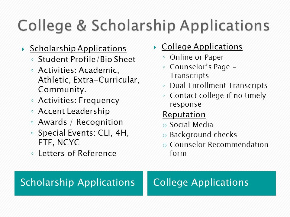 Scholarship Applications College Applications  Scholarship Applications ◦ Student Profile/Bio Sheet ◦ Activities: Academic, Athletic, Extra-Curricula
