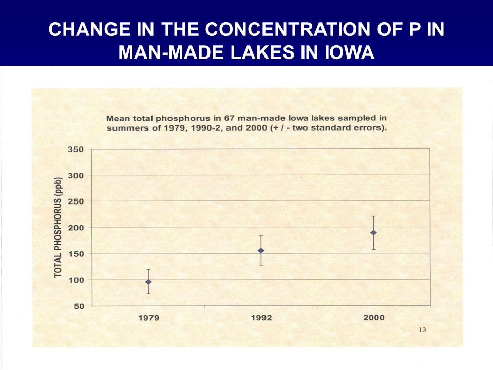 CHANGE IN THE CONCENTRATION OF P IN MAN-MADE LAKES IN IOWA
