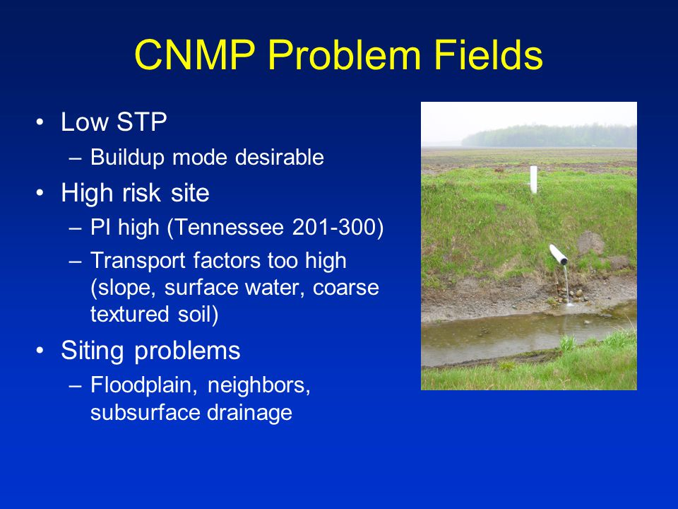 CNMP Problem Fields Low STP –Buildup mode desirable High risk site –PI high (Tennessee 201-300) –Transport factors too high (slope, surface water, coarse textured soil) Siting problems –Floodplain, neighbors, subsurface drainage