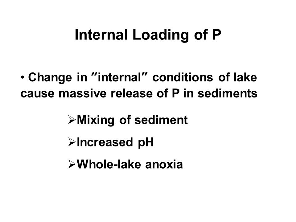 Internal Loading of P Change in internal conditions of lake cause massive release of P in sediments  Mixing of sediment  Increased pH  Whole-lake anoxia