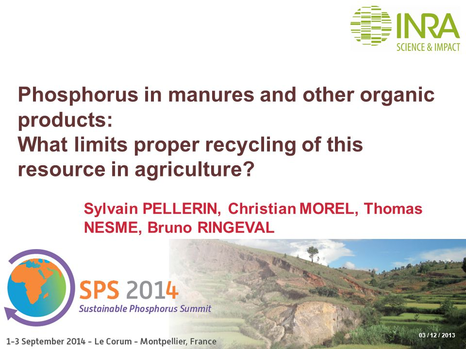 Phosphorus in manures and other organic products: What limits proper recycling of this resource in agriculture.