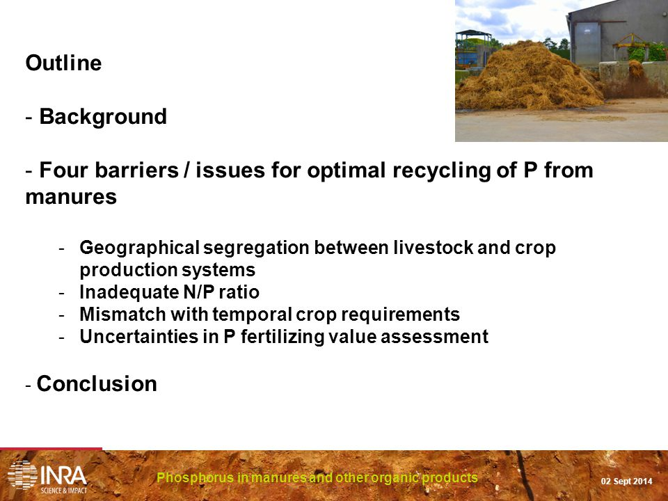 Outline - Background - Four barriers / issues for optimal recycling of P from manures -Geographical segregation between livestock and crop production systems -Inadequate N/P ratio -Mismatch with temporal crop requirements -Uncertainties in P fertilizing value assessment - Conclusion Phosphorus in manures and other organic products 02 Sept 2014