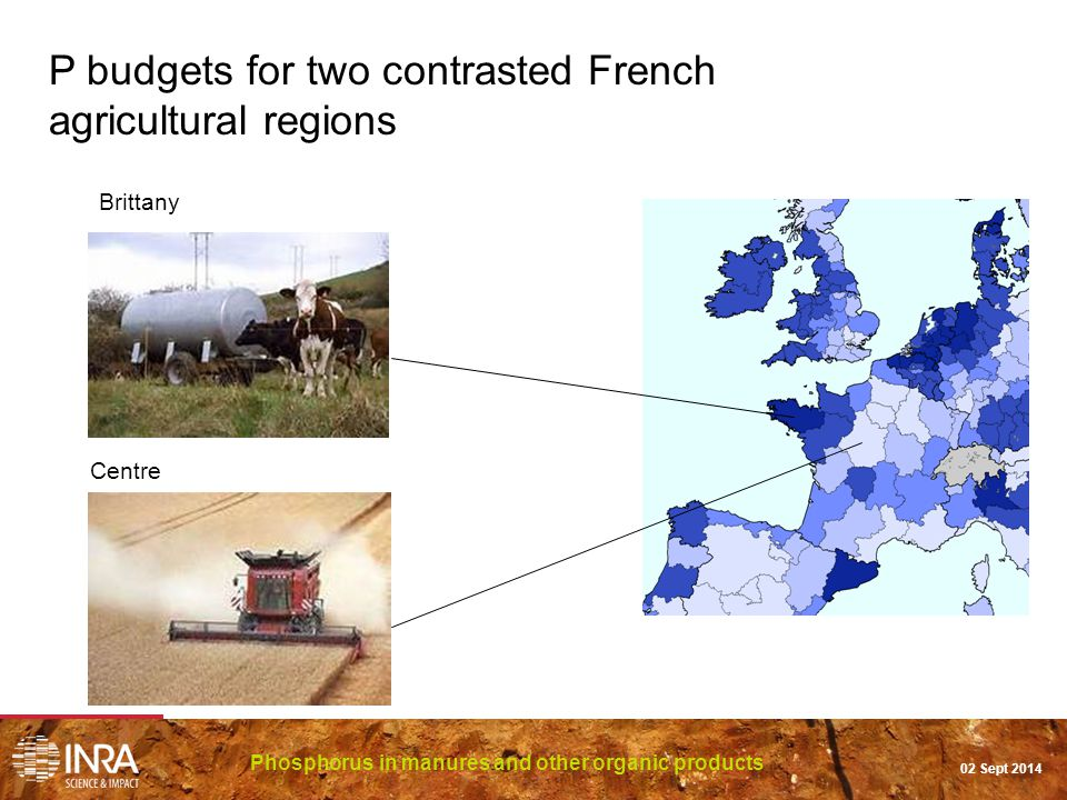 Phosphorus in manures and other organic products 02 Sept 2014 Brittany Centre P budgets for two contrasted French agricultural regions