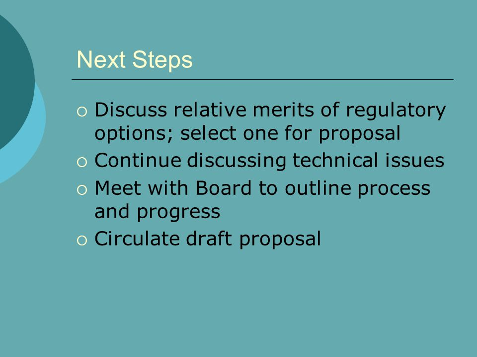 Next Steps  Discuss relative merits of regulatory options; select one for proposal  Continue discussing technical issues  Meet with Board to outlin