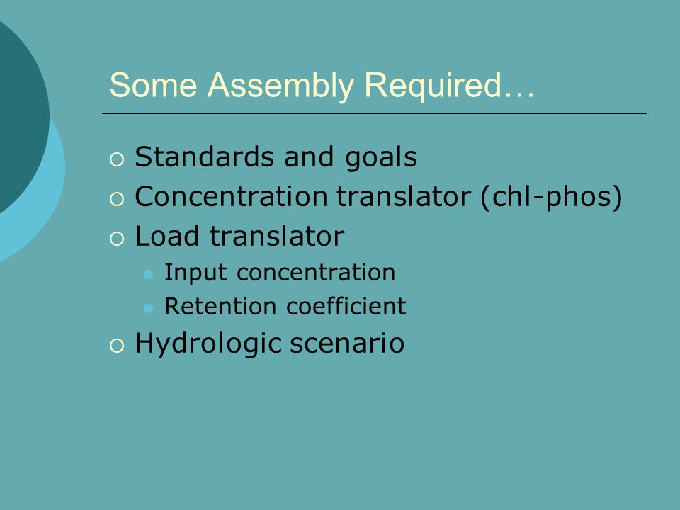 Some Assembly Required…  Standards and goals  Concentration translator (chl-phos)  Load translator Input concentration Retention coefficient  Hydrologic scenario