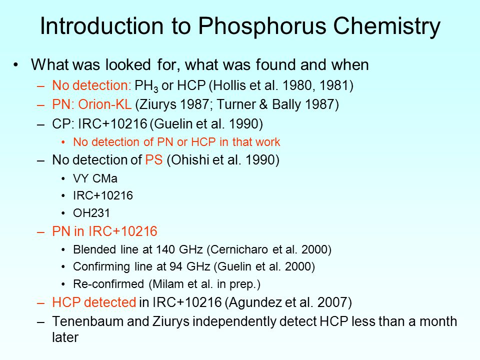 Introduction to Phosphorus Chemistry What was looked for, what was found and when –No detection: PH 3 or HCP (Hollis et al.