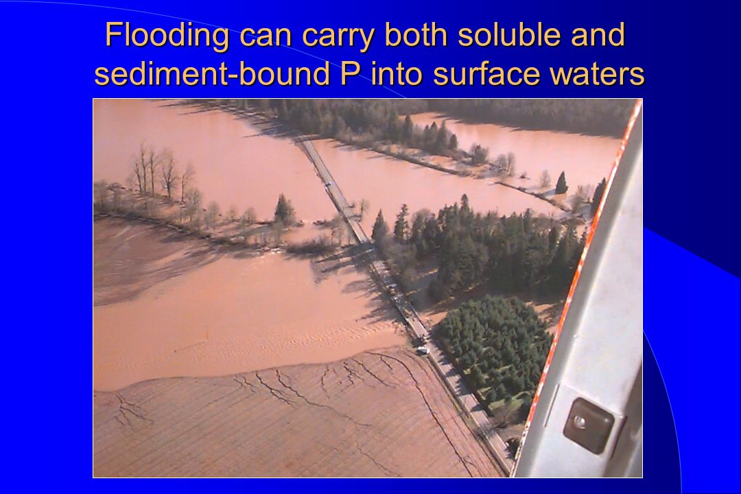 Flooding can carry both soluble and sediment-bound P into surface waters