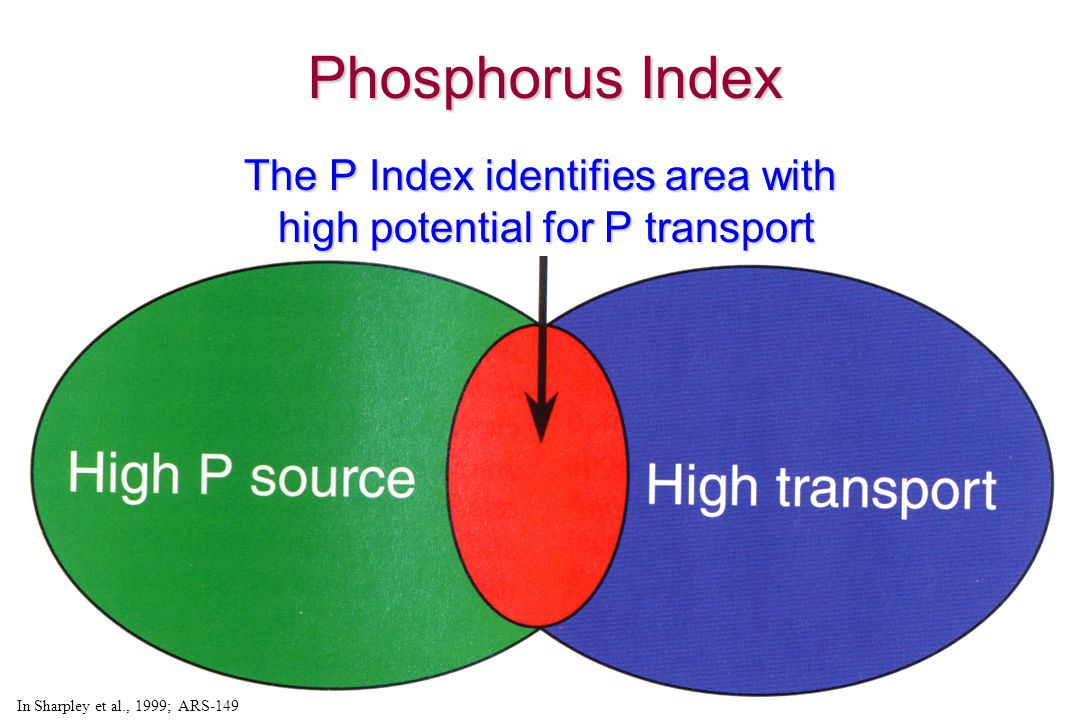 In Sharpley et al., 1999; ARS-149 The P Index identifies area with high potential for P transport Phosphorus Index