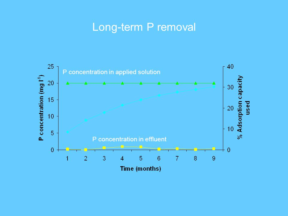 Long-term P removal P concentration in applied solution P concentration in effluent