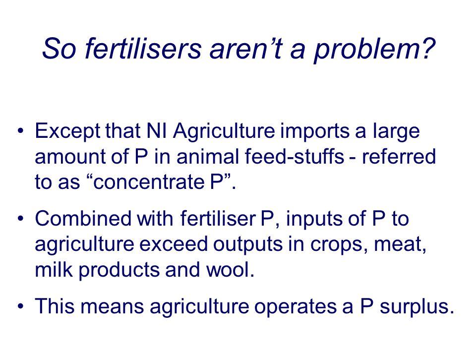 So fertilisers aren't a problem.
