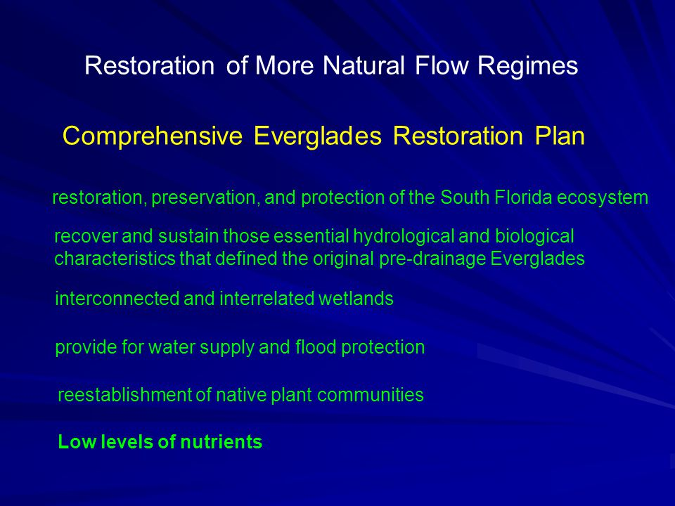 Comprehensive Everglades Restoration Plan restoration, preservation, and protection of the South Florida ecosystem provide for water supply and flood