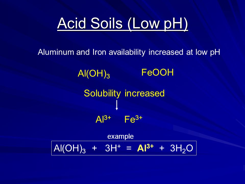 Acid Soils (Low pH) Aluminum and Iron availability increased at low pH Al(OH) 3 FeOOH Solubility increased Al 3+ Fe 3+ Al(OH) 3 + 3H + = Al 3+ + 3H 2