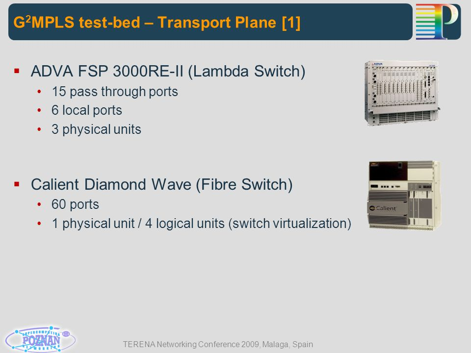 TERENA Networking Conference 2009, Malaga, Spain  ADVA FSP 3000RE-II (Lambda Switch) 15 pass through ports 6 local ports 3 physical units  Calient D