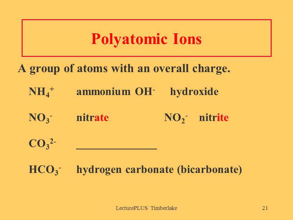 LecturePLUS Timberlake21 Polyatomic Ions A group of atoms with an overall charge.