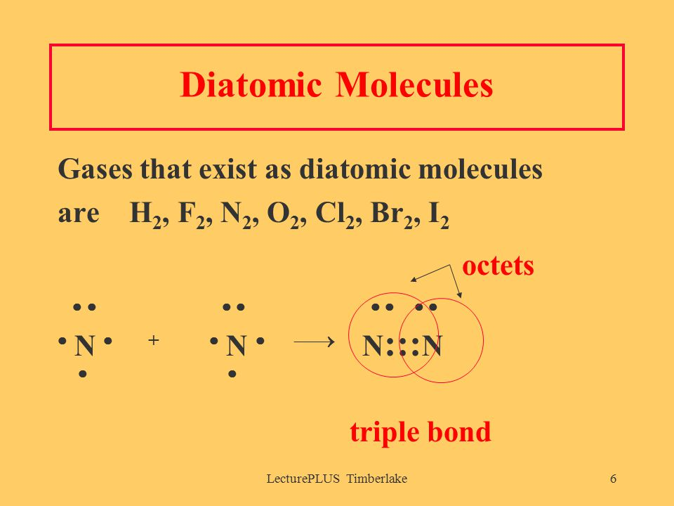 LecturePLUS Timberlake6 Diatomic Molecules Gases that exist as diatomic molecules are H 2, F 2, N 2, O 2, Cl 2, Br 2, I 2 octets          N  +  N   N ::: N  triple bond