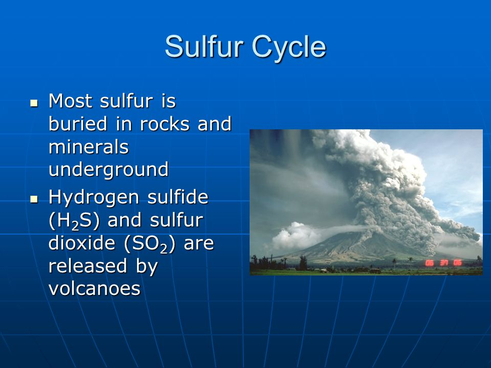 Sulfur Cycle Most sulfur is buried in rocks and minerals underground Most sulfur is buried in rocks and minerals underground Hydrogen sulfide (H 2 S) and sulfur dioxide (SO 2 ) are released by volcanoes Hydrogen sulfide (H 2 S) and sulfur dioxide (SO 2 ) are released by volcanoes