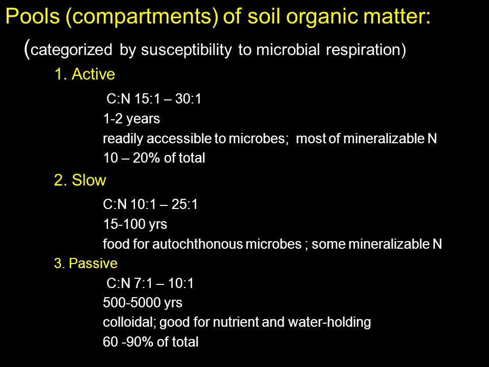 Pools (compartments) of soil organic matter: ( categorized by susceptibility to microbial respiration) 1. Active C:N 15:1 – 30:1 1-2 years readily acc