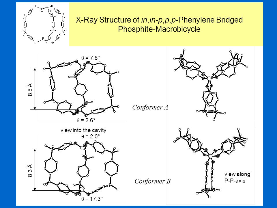 Conformer A Conformer B view into the cavity view along P-P-axis X-Ray Structure of in,in-p,p,p-Phenylene Bridged Phosphite-Macrobicycle 8.5 Å 8.3 Å 