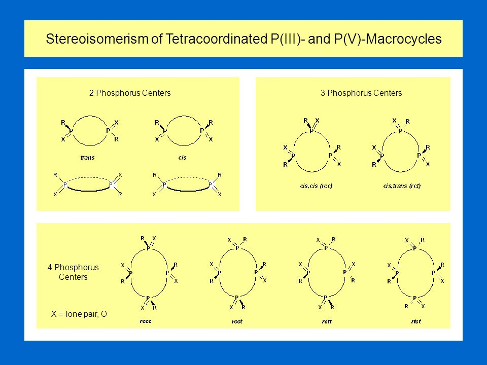 Stereoisomerism of Tetracoordinated P(III)- and P(V)-Macrocycles 2 Phosphorus Centers 4 Phosphorus Centers 3 Phosphorus Centers X = lone pair, O