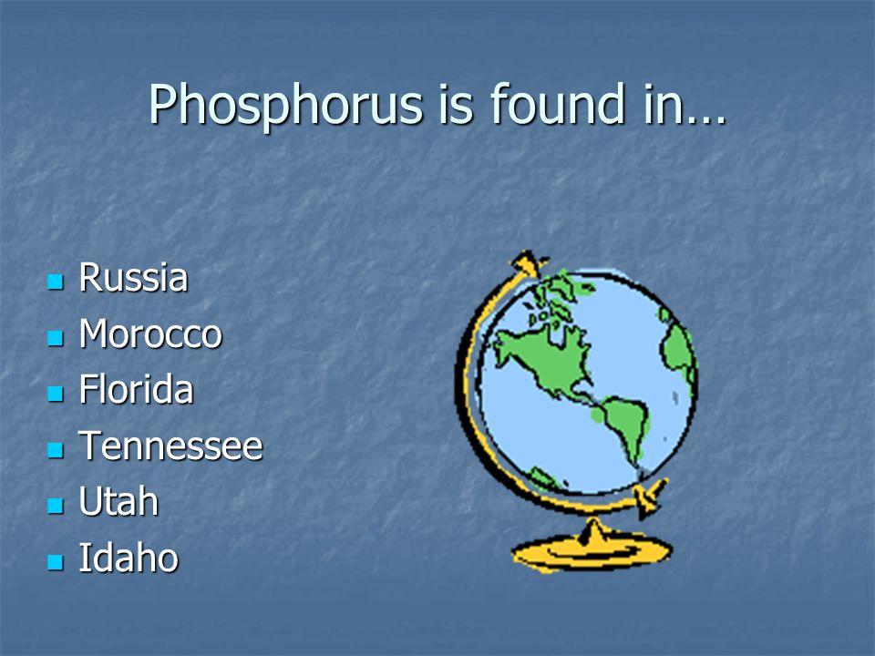 Phosphorus is found in… Russia Russia Morocco Morocco Florida Florida Tennessee Tennessee Utah Utah Idaho Idaho