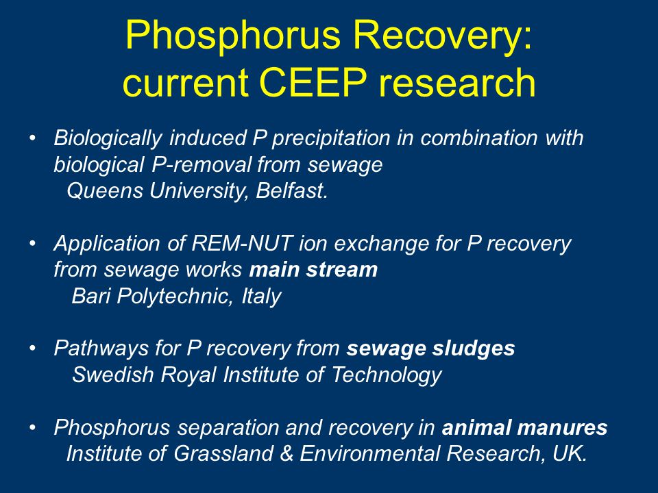 Phosphorus Recovery: current CEEP research Biologically induced P precipitation in combination with biological P-removal from sewage Queens University, Belfast.