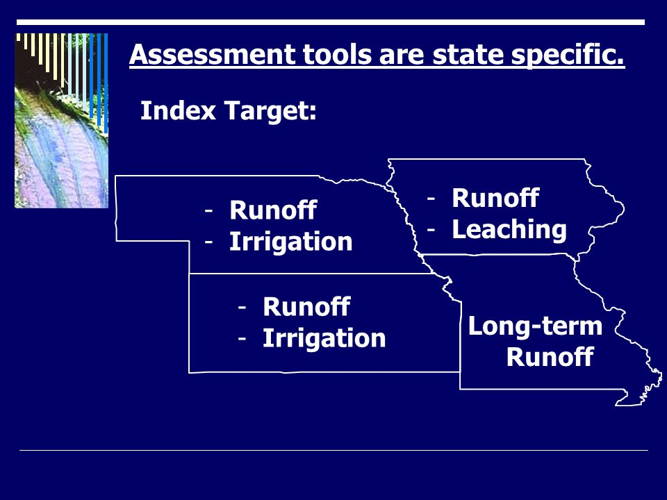 P index developed cooperatively by MU and NRCS.Based on best professional judgment.