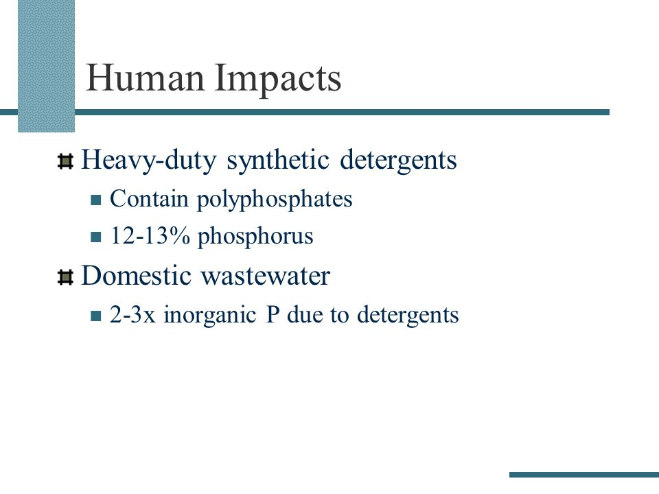 Human Impacts Heavy-duty synthetic detergents Contain polyphosphates 12-13% phosphorus Domestic wastewater 2-3x inorganic P due to detergents