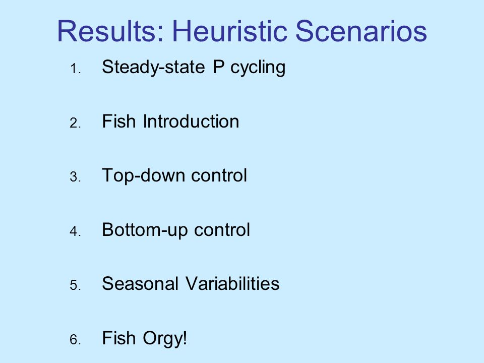 Results: Heuristic Scenarios 1. Steady-state P cycling 2.