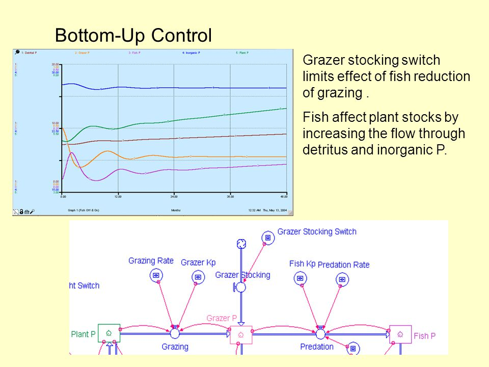 Bottom-Up Control Grazer stocking switch limits effect of fish reduction of grazing.
