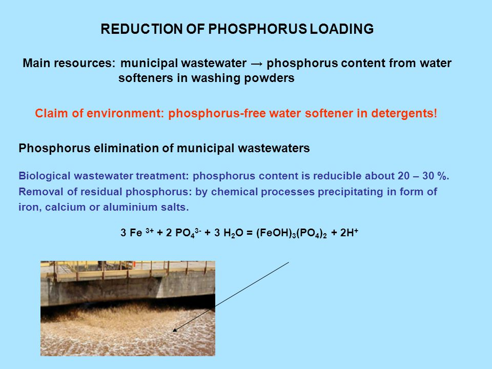 REDUCTION OF PHOSPHORUS LOADING Main resources: municipal wastewater → phosphorus content from water softeners in washing powders Claim of environment: phosphorus-free water softener in detergents.