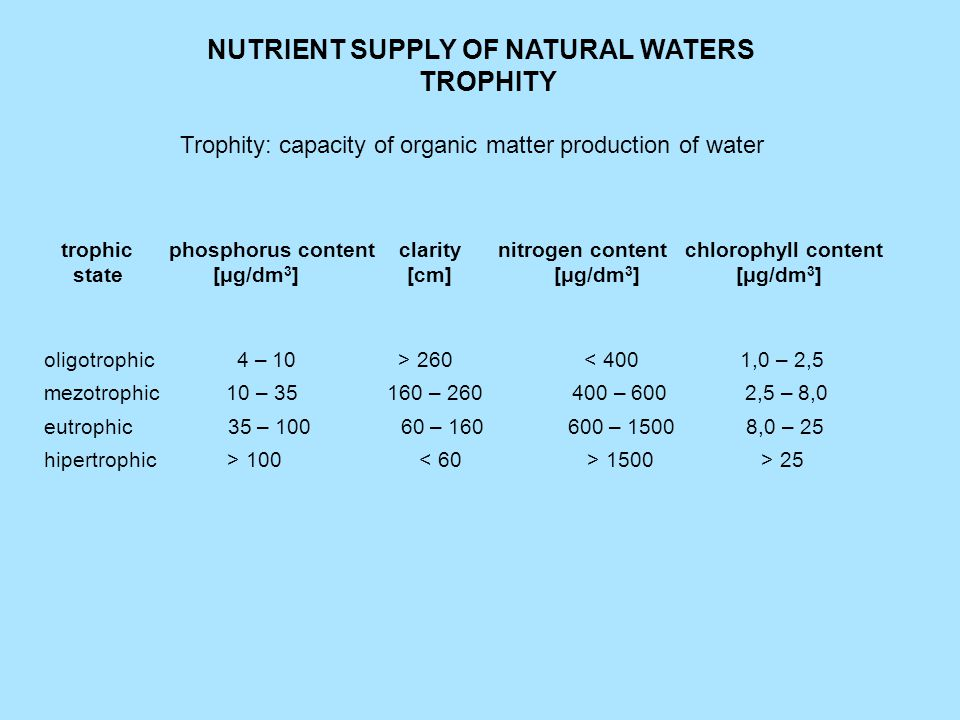 Racial diversity and large number of individuals in oligotrophic waters can not be formed due to the low nutrient content.